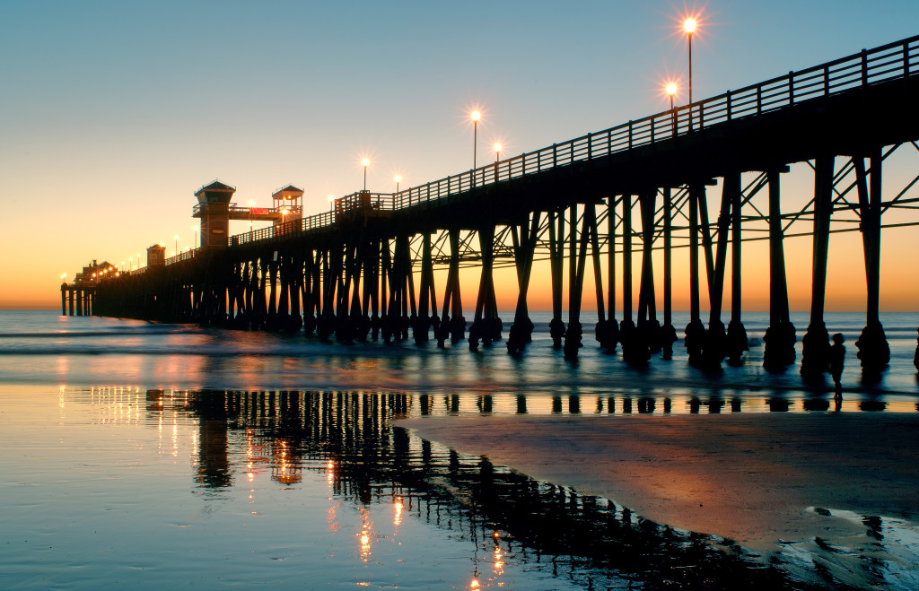 Sunset at Oceanside Pier in San Diego, CA