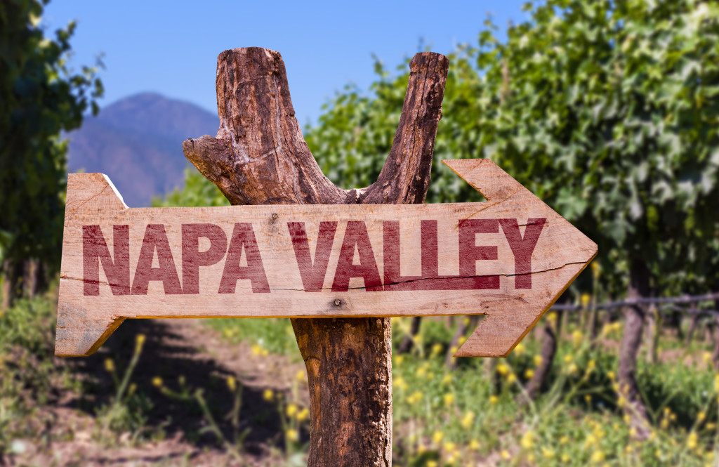 Arrow Sign Pointing to Napa Valley Wineries
