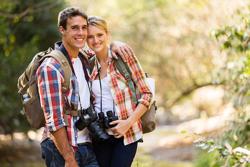 Couple Hiking in Carlsbad, CA near Lake Calavera