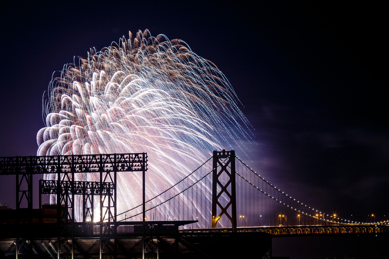 July 4th Fireworks at San Francisco-Oakland Bay Bridge