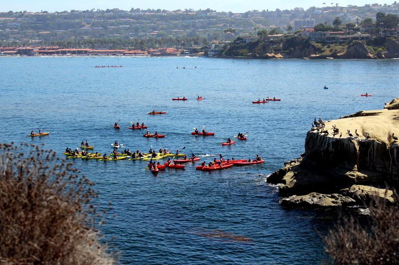 People Kayaking in La Jolla, CA