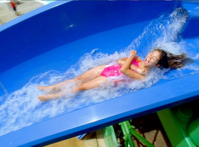 Young Girl on Legoland Chima Waterpark Slide in Carlsbad, CA