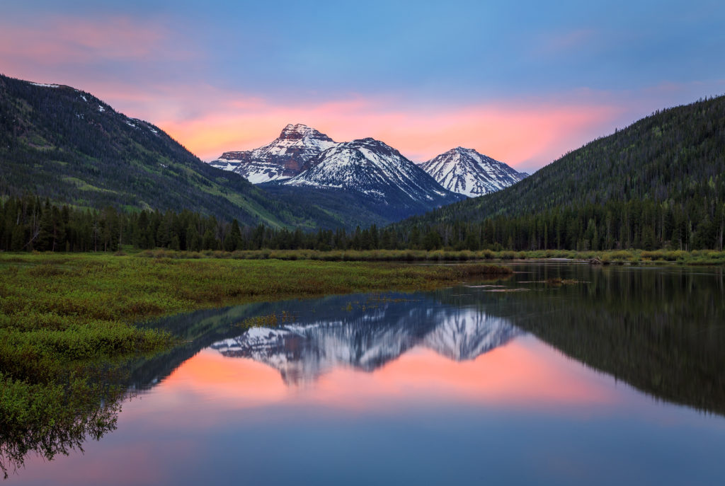 Uinta Mountains with Reflection at Dawn in Utah